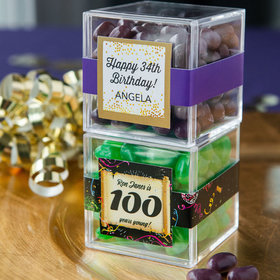 Personalized Milestone 100th Birthday JUST CANDY® favor cube with Jelly Belly Jelly Beans