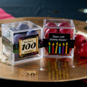 Personalized Milestone 100th Birthday JUST CANDY® favor cube with Premium Malted Milk Balls