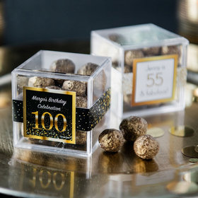 Personalized Milestone 100th Birthday JUST CANDY® favor cube with Premium Sparkling Prosecco Cordials - Dark Chocolate