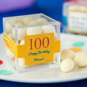 Personalized Milestone 100th Birthday JUST CANDY® favor cube with Premium Sugar Cookie Bites