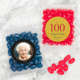 Personalized Milestone 100th Birthday Candy Bags with Jelly Belly Jelly Beans