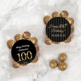 Personalized Milestone 100th Birthday Candy Bags with Premium Gourmet Sparkling Prosecco Cordials