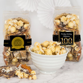Personalized Milestone 100th Birthday Trendy Trash Popcorn 8 oz Bags