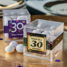 Personalized Milestone 30th Birthday JUST CANDY® favor cube with Premium Confetti Cookie Bites
