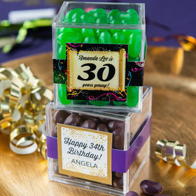 Personalized Milestone 30th Birthday JUST CANDY® favor cube with Jelly Belly Jelly Beans
