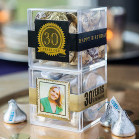 Personalized Milestone 30th Birthday JUST CANDY® favor cube with Hershey's Kisses