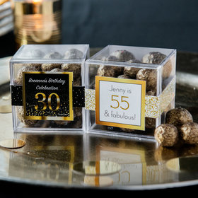 Personalized Milestone 30th Birthday JUST CANDY® favor cube with Premium Sparkling Prosecco Cordials - Dark Chocolate