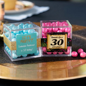 Personalized Milestone 30th Birthday JUST CANDY® favor cube with Sixlets Chocolate