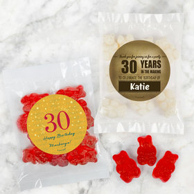 Personalized Milestone 30th Birthday Candy Bags with Gummi Bears