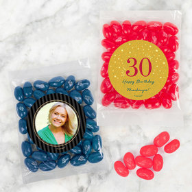 Personalized Milestone 30th Birthday Candy Bags with Jelly Belly Jelly Beans