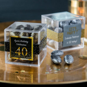 Personalized Milestone 40th Birthday JUST CANDY® favor cube with Premium Almond Jewels