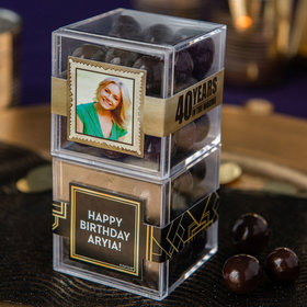 Personalized Milestone 40th Birthday JUST CANDY® favor cube with Premium Barrel Aged Bourbon Cordials - Dark Chocolate