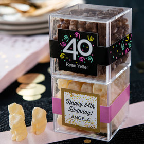 Personalized Milestone 40th Birthday JUST CANDY® favor cube with Premium Chocolate Covered Gummy Bears