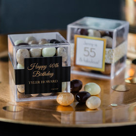 Personalized Milestone 40th Birthday JUST CANDY® favor cube with Premium New York Espresso Beans