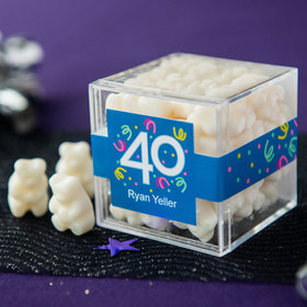 Personalized Milestone 40th Birthday JUST CANDY® favor cube with Gummy Bears