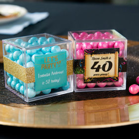 Personalized Milestone 40th Birthday JUST CANDY® favor cube with Sixlets Chocolate