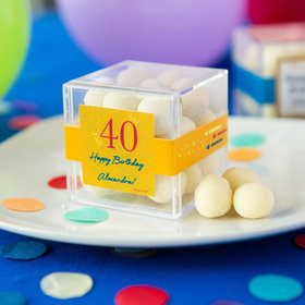 Personalized Milestone 40th Birthday JUST CANDY® favor cube with Premium Sugar Cookie Bites