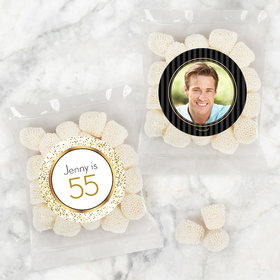 Personalized Milestone 40th Birthday Candy Bags with Jelly Belly Champagne Bubble Gumdrops