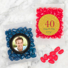 Personalized Milestone 40th Birthday Candy Bags with Jelly Belly Jelly Beans