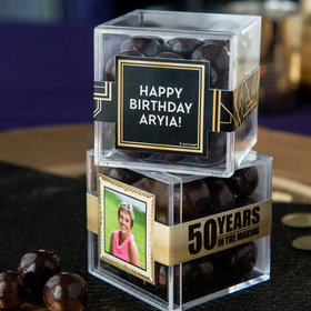 Personalized Milestone 50th Birthday JUST CANDY® favor cube with Premium Barrel Aged Bourbon Cordials - Dark Chocolate