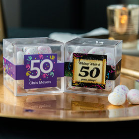 Personalized Milestone 50th Birthday JUST CANDY® favor cube with Premium Confetti Cookie Bites