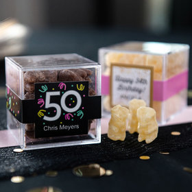 Personalized Milestone 50th Birthday JUST CANDY® favor cube with Premium Chocolate Covered Gummy Bears
