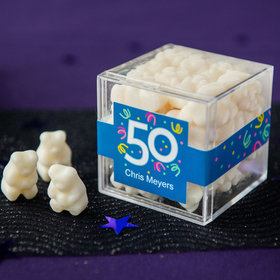 Personalized Milestone 50th Birthday JUST CANDY® favor cube with Gummy Bears
