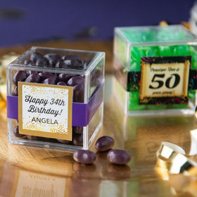 Personalized Milestone 50th Birthday JUST CANDY® favor cube with Jelly Belly Jelly Beans