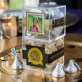 Personalized Milestone 50th Birthday JUST CANDY® favor cube with Hershey's Kisses