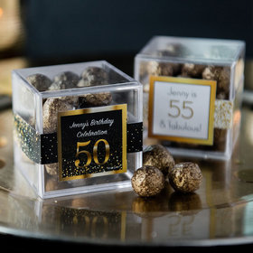 Personalized Milestone 50th Birthday JUST CANDY® favor cube with Premium Sparkling Prosecco Cordials - Dark Chocolate
