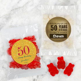 Personalized Milestone 50th Birthday Candy Bags with Gummi Bears