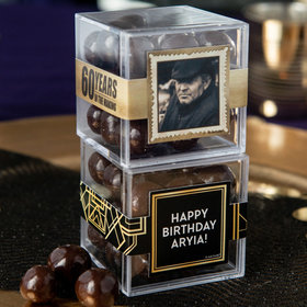 Personalized Milestone 60th Birthday JUST CANDY® favor cube with Premium Barrel Aged Bourbon Cordials - Dark Chocolate