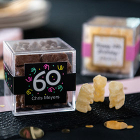 Personalized Milestone 60th Birthday JUST CANDY® favor cube with Premium Chocolate Covered Gummy Bears