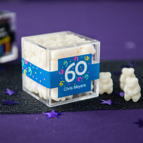 Personalized Milestone 60th Birthday JUST CANDY® favor cube with Gummy Bears
