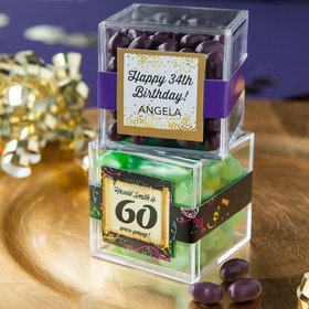 Personalized Milestone 60th Birthday JUST CANDY® favor cube with Jelly Belly Jelly Beans