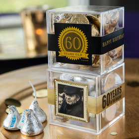 Personalized Milestone 60th Birthday JUST CANDY® favor cube with Hershey's Kisses