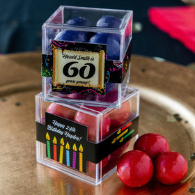 Personalized Milestone 60th Birthday JUST CANDY® favor cube with Premium Malted Milk Balls