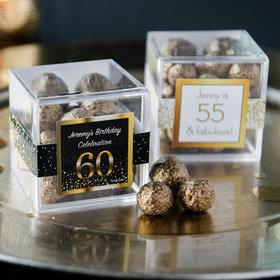 Personalized Milestone 60th Birthday JUST CANDY® favor cube with Premium Sparkling Prosecco Cordials - Dark Chocolate