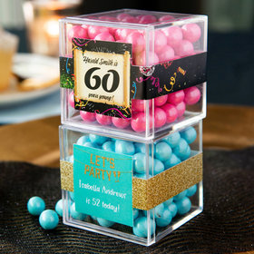 Personalized Milestone 60th Birthday JUST CANDY® favor cube with Sixlets Chocolate