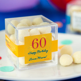 Personalized Milestone 60th Birthday JUST CANDY® favor cube with Premium Sugar Cookie Bites