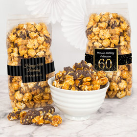 Personalized Milestone 60th Birthday Chocolate Caramel Sea Salt Gourmet Popcorn 8 oz Bags