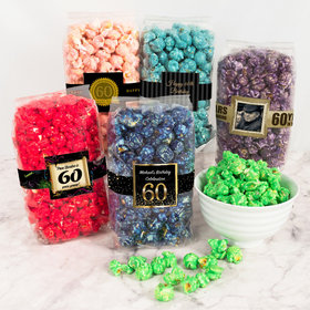 Personalized Milestone 60th Birthday Candy Coated Popcorn 8 oz Bags