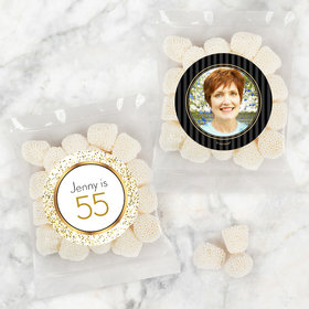 Personalized Milestone 60th Birthday Candy Bags with Jelly Belly Champagne Bubble Gumdrops