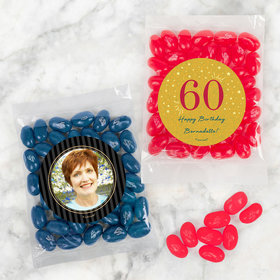 Personalized Milestone 60th Birthday Candy Bags with Jelly Belly Jelly Beans