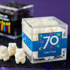 Personalized Milestone 70th Birthday JUST CANDY® favor cube with Gummy Bears
