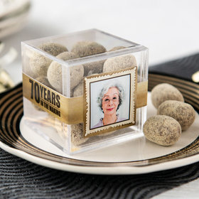 Personalized Milestone 70th Birthday JUST CANDY® favor cube with Premium Marshmallow S'mores - Milk Chocolate