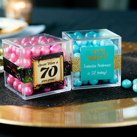 Personalized Milestone 70th Birthday JUST CANDY® favor cube with Sixlets Chocolate