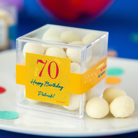 Personalized Milestone 70th Birthday JUST CANDY® favor cube with Premium Sugar Cookie Bites