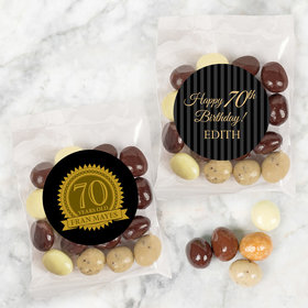 Personalized Milestone 70th Birthday Candy Bags with Premium Gourmet New York Espresso Beans