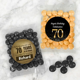 Personalized Milestone 70th Birthday Candy Bags with Just Candy Milk Chocolate Minis